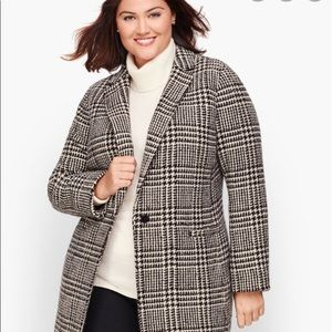 Talbots Plus Wool Blend Plaid Coat Size 22W